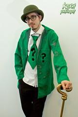 IMG_0599 (Neil Keogh Photography) Tags: male cane shirt comics glasses suit jacket questionmark bowlerhat batman cosplayer dccomics pant theriddler arkhamasylum walkingcane arkhamcity arkhamknight salfordcomiccon2016