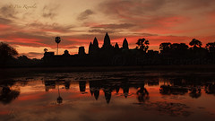 Panoramic reflection. (Pete 5D......) Tags: world morning pink blue sky flower reflection heritage water pool silhouette sunrise temple dawn site asia cambodia khmer lily purple angkor wat