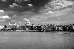St Pauls Cathedral (John Fenner) Tags: bridge urban bw white black london monochrome st thames analog river prime mono nikon cityscape cathedral pauls millennium d750 pro nik 24mm nikkor f28 afd efex