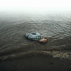 Honest. (Simon McCheung) Tags: beach honest water drown sleep dream wet pyjamas float sail sureal art fine conceptual