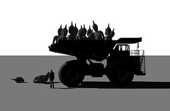 Buddha dump truck (spirituality mass production) (Nestor_PS) Tags: sculpture art digital truck blackwhite buddha render dump production spirituality mass buddah noire nestorps