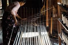 Weaving silk. Myanmar (ravalli1) Tags: myanmar inlelake burma birmania silk arts craft weave artisan dailylife seta woman light nikon7100 sigma1770