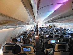Hawaiian A330-243 cabin (kenjet) Tags: lighting plane airplane inflight cabin interior aircraft aviation jet rows seats transportation airbus hawaiian ha flugzeug a330 onboard moodlighting hawaiianairlines a330243 makalii n380ha