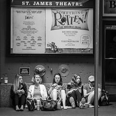 Ladies camped outside Something Rotten #stjamestheatre #Broadway (www.higbyphotography.com) Tags: lines square tickets theater broadway squareformat somethingrotten stjamestheater iphoneography instagramapp