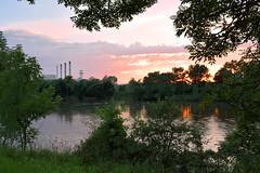 Centrale EDF de Blnod les PAM (denis.fleurot) Tags: sunset ciel arbres nuages reflexion verdure coucherdesoleil fleuve edf moselle centralelectrique