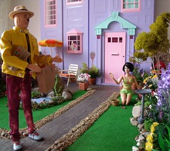 Tea Time 1 of 3 (suekulec) Tags: 16 playscale doll gardening garden scarecrow ken poppy parker mood changers barbie townhouse diorama story