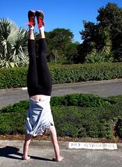 NO STANDING (phunnyfotos) Tags: woman girl sign canon upsidedown australia brisbane qld queensland handstand canonpowershot nostanding phunnyfotos