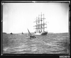 Four-masted barque MAGDALENE VINNEN departing Sydney, 29 March 1933