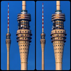 Dresden TV Tower 3D ::: Hyperstereo Cross-Eye 3D (Stereotron) Tags: 3d 3dphoto 3dstereo 3rddimension spatial stereo stereo3d stereophoto stereophotography stereoscopic stereoscopy stereotron threedimensional stereoview stereophotomaker stereophotograph 3dpicture 3dglasses 3dimage crosseye crosseyed crossview xview cross eye pair squint squinting freeview sidebyside sbs kreuzblick hyperstereo twin canon eos 550d sigma zoom lens 70300mm tonemapping hdr hdri raw cr2 quietearth europe germany saxony sachsen dresden fernsehturm tvtower television broadcast station modern architecture kurtnowotny herrmannrühle johannesbraune 100v10f
