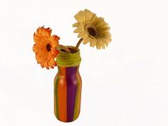 Florero reciclado con decoupage