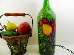 Lighted Wine Bottle Fruit Grapes Apple Pear Strawberries Hand Painted Recycled 1 Liter (Painting by Elaine) Tags: lighting green apple kitchen glass fruit lights bottle strawberry wine painted strawberries handpainted grapes pear winebottle handpaintedbottle homedecor lighted barlight paintedbottle accentlight winebottlelights lightedwinebottle paintingbyelaine