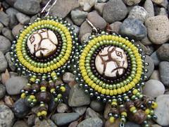 Green & Brown earrings (B. Sobieck) Tags: horse brown green yellow beads embroidery earring jewelry bead bone beaded beadwork seedbeads beadembroidery beadedearrings beadembroideredearrings