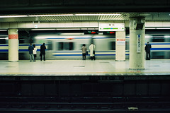 Tokyo Station (a l e x . k) Tags: film station japan train tokyo moving pentax platform lx fa43mmf19