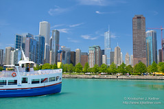 Tour Boat Under the Chicago Skyline (kjkettnerphoto) Tags: city travel vacation usa sunlight chicago tourism water skyline architecture clouds america port photography harbor boat illinois day cityscape escape waterfront unitedstates unitedstatesofamerica shoreline landmark lakemichigan il journey shore transportation northamerica destination coastline navypier watersedge recreation trumptower urbanism aonbuilding aoncenter destinations northernhemisphere standardoilbuilding urbanscene bigstan amocobuilding colorimage famousplace buildingexterior oneboat downtowndistrict peopletraveling nauticalvessel horizontalcomposition 1boat singleboat