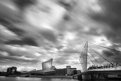 Approaching............. (Digital Diary........) Tags: blackandwhite bw manchester movement salfordquays le iwm uninspired toohot weldingglass