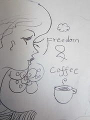 IMG_0332 (Candle_Of_Ice) Tags: color art window mushroom coffee pencil pencils butterfly drawing drawings health bliss cofee bluberries antioxidants