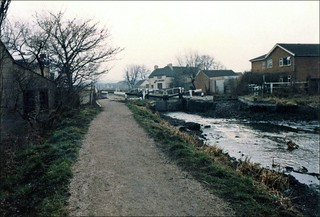 Erewash Canalside towpath - approaching the Bridge public house - Awsworth Road - Cotmanhay  - Late afternoon - a Sunday in February 1984 . The canal had been emptied to enable repair  work.