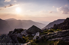 Tryfan Sunset (Terry Yarrow) Tags: uk light sunset landscape evening rocks sony snowdonia contrejour rambling possibles tryfan northwales ogwenvalley nex5n