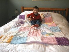 One of my first quilts (Nesha's Vintage Niche) Tags: baby love work vintage quilt mother sew passion patch chenille