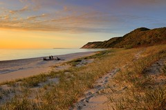 """Empire Bluff""  Sleeping Bear Dunes National Lakeshore (Michigan Nut) Tags: sunset party sky usa beach landscape photography sand michigan dunes dune footprints lakemichigan campfire empire sleepingbeardunes southmanitouisland leelanaucounty empirebluff eschroadbeach"