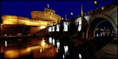 Blue hour on Ponte Sant'Angelo (jackfre2) Tags: lighting bridge italy rome roma angel night reflections lights italia statues arches thebluehour pontesantangelo aelianbridge mygearandme mygearandmepremium mygearandmebronze ringexcellence dblringexcellence flickrstruereflection1 rememberthatmomentlevel1 finemeshtextureprocessing