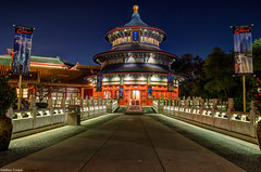 China's Orion Belt (TheTimeTheSpace) Tags: china night reflections stars epcot nikon disney disneyworld waltdisneyworld templeofheaven worldshowcase chinapavilion orionsbelt d7000