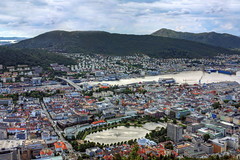 Bergen viewed from Mount Fløyen, Norway (**Anik Messier**) Tags: city houses mountain lake water norway river boats cityscape rooftops ships aerialview bergen pound hordaland municipality mountfloyen mountfløyen bærɡən bergenshalvøyen