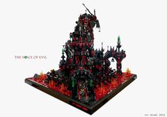 The Voice of evil (bloei) Tags: black tower castle mill architecture dark fire lava design lego towers evil voice medieval creation fantasy fortress moc bloei darkworld