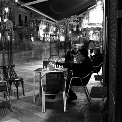 Madrid (Peter Gutierrez) Tags: madrid street old city light urban bw espaa white black streets film blanco public night square lights evening noche town photo spain europe mediterranean european nocturnal time nacht pavement south centre negro centro ciudad center southern sidewalk peter spanish nighttime gutierrez urbano viejo nocturne notte acera pavimento nui guijarros guijarro espagnol adoqun peter gutierrez