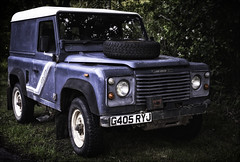 Land Rover Ninety. (Robots are Stupid) Tags: auto uk england car rural 50mm sussex nikon vintagecar automobile offroad 4x4 westsussex britain 4wd headlights grill licenseplate bumper british parked fullframe landrover countrylane 90 southdowns landy numberplate m