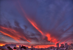 SF Sunset Clouds, or, Magic Face From Infinity, HDR (Walker Dukes) Tags: sf sanfrancisco california city pink blue red sky urban orange cloud black green art skyline clouds photoshop canon landscape evening cityscape highdefinition sfbayarea trippy psychedelic universe fiery onfire photomatix tonemapping picturesintheclouds canons95