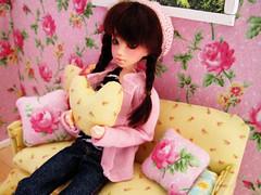 Doll room in progress (Hellohappylisa) Tags: wallpaper house cute floral corner ball japanese momo doll sweet room adorable couch kawaii bjd happydolls jointed obitsu nanoharuka hellohappy