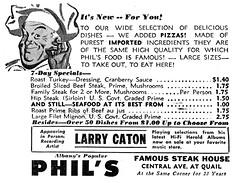 Phil's Steak House restaruant 1956  albany ny 1950s (albany group archive) Tags: albany ny phil steak house 1956 larry caton oldalbany history