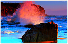 Fire Water ('Mick's Pics') Tags: ocean summer color colour beach water rock sunrise canon rocks flickr surf waves break tide sydney wave australia pacificocean newsouthwales splash tidal nationalgeographic northernbeaches canonphotography