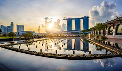 Morning walk at Marina Bay (.Randy.) Tags: city light sun sunlight reflection sunrise singapore asia downtown cityscape marinabay