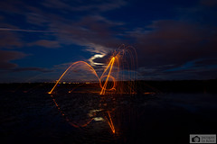 Fishy steelwool fail with great result (Photographs by Jacques) Tags: longexposure blue light sunset sea sky sun lightpainting nature water beautiful beauty night landscape fire scotland edinburgh pretty colours submarine forth bluehour lowtide defense southqueensferry northqueensferry forthrailbridge steelwool fireplay crammond crammondisland