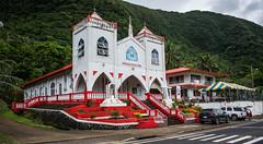 2016 - South Pacific Islands - American Samoa - Finagalo (Ted's photos - Returns Early July) Tags: street red church umbrella cross steps crosses streetscene crosswalk curb railings 2016 tedmcgrath tedsphotos finaglepaiaiesu