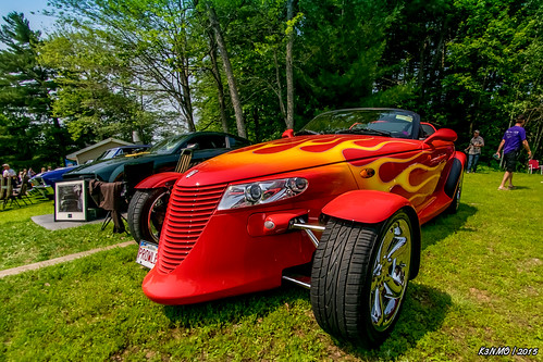 1999 Plymouth Prowler (kenmojr) Tags: auto show red classic car vintage antique flames plymouth convertible 1999 newbrunswick moncton hotrod vehicle mopar carshow streetrod centennialpark sportscar prowler roadster 2015 flamed atlanticnationals kenmorris kenmo
