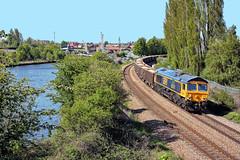 Cutting A Dash (whosoever2) Tags: uk greatbritain railroad england train canal nikon unitedkingdom yorkshire railway gb swanage class66 swinton railfreight gbrf 66741 d7100