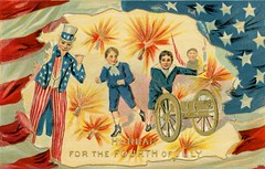 Hurrah for the Fourth of July (Alan Mays) Tags: old blue red white men boys yellow vintage paper children stars cards typography gold clothing holidays fireworks antique stripes hats 4th beards illustrations patriotic flags ephemera clothes postcards type fourthofjuly greetings 1910s july4th 4thofjuly july4 fourth independenceday fonts printed firecrackers unclesam cannons typefaces 753 greetingcards postcardseries burstingthrough series753
