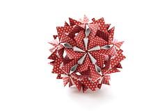 Crystal flower (ronatka) Tags: kusudama modularorigami nataliaromanenko square red white whitebackground birthday gift ef50mmf18stm inexplore dropped