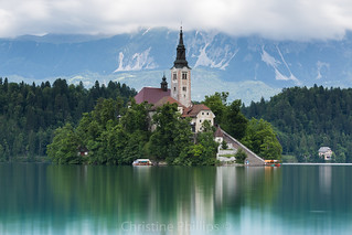 Bled in Slovenia and Bled Island. Pletna are the boats used to get to Bled Island :)