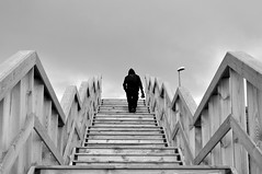 (Steini789) Tags: bw white black stairs outdoors person wooden