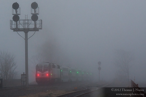 "NJT in the fog • <a style=""font-size:0.8em;"" href=""http://www.flickr.com/photos/20365595@N04/6880595664/"" target=""_blank"">View on Flickr</a>"