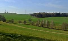 das grne Vogtland - the green Vogtland/germany (fleckchen) Tags: sky landscape deutschland natur felder wiesen himmel berge sachsen windrad bume landschaften windrder vogtland tler lamndschaft