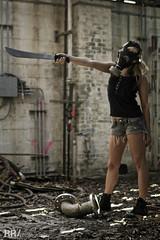 IMG_0093WM (RobRoselli) Tags: woman beautiful alone zombie badass apocalypse gasmask machete fearless fallout