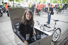Media Team member Nina Maier awaits in her high-tech camera box