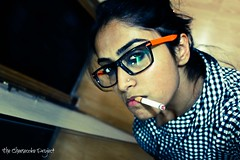 Teri Keh Ke Loongi (Stuti ~) Tags: portrait woman girl shirt lady self glasses mirror spectacles checks thechallengefactory canon550d thecheesecakeproject