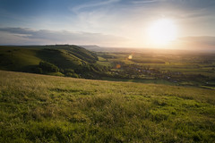 (drfugo) Tags: trees sunset summer england sky cloud sun grass downs landscape sussex shadows south explosion hills canon5d antennas drstrangelove devilsdyke fulking sigma28mmf18exdg
