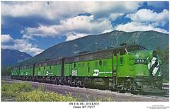 BN 818, 851, 815 & 810 (Robert W. Thomson) Tags: railroad train montana diesel railway trains bn locomotive trainengine essex booster coveredwagon f9 burlingtonnorthern emd bunit funit f9b aunit f9a fouraxle boosterunit cabunit cablessbooster